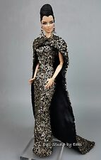 Eaki Silkstone Barbie Fashion Royalty Evening Dress Outfit Gown FR Black & Gold