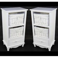 PAIR/SHABBY CHIC BEDSIDE/LAMP TABLES WHITE 2 WICKER BASKET STORAGE UNITS CABINET