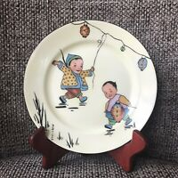 RARE J & C Bavaria Antique Plate Featuring Chinese Children. Hand-painted Signed