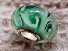 1 green ferny or swirly glass European charm bead - lampwork bracelet water sea