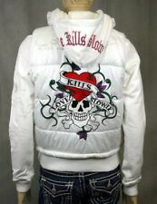 Ed Hardy women's Love Kills Slowly White Vest Puffy Jacket layered S