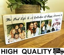 "11x4"" Personalised Wooden Photos Quote Block Friendship Best Friend Family Gift"