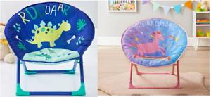 Chair Kids Lucky Bums Moon Camp Indoor Outdoor Foldable Dinosaur & Unicorn Chair