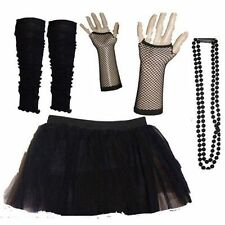 Black Leg Warmers Tutu Skirts Beads Gloves Hen 80's Fancy Dress Fun Outfit Dance