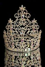 "Large Rhinestone Pageant Crown -8.5"" GOLD  tiara beauty pageant drag queen"