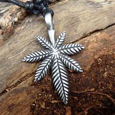 Marijuana Maple Leaf Weed Hemp Pewter Pendant Charm with Cotton Necklace # 065