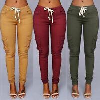 Pants Size Womens Waist Sweatpants Trousers Skinny Pocket Cargo Jogger High Plus