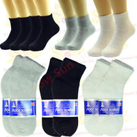 3-12 Pairs Mens Diabetic Ankle Quarter Circulatory Health Socks Cotton Size 9-15