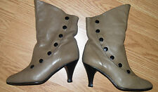 Vintage Victorian BEIGE taupe leather Granny button DRESS ANKLE BOOTS 6.5 BRAZIL