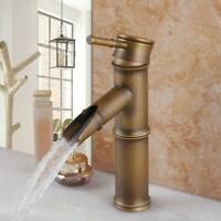 Antique Faucet Brass Bathroom Bamboo Vessel Sink Basin One Hole/Handle Mixer Tap