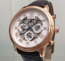 Rotary Men's Rose Gold Plated Skeleton Automatic Watch Stunning RRP £250 (r46