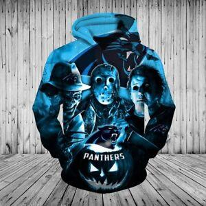 Carolina Panthers Men's Halloween Hoodies Pullover Sweatshirt Horror Spooky Tops