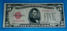 1928 B $5 United States Note ! ,Large Red Seal,Circ. Very Fine ! OLD US CURRENCY