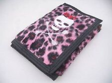 Pink Leopard Fur Furry Animal Print Embroidered Skull Crossbones Purse Wallet