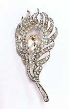 Beautiful Diamante 'Peacock Feather' Brooch Silver Plated