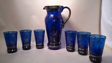 Vintage Cobalt Blue Glass Silver Overlay Pitcher 6 Glass Set crinoline Lady