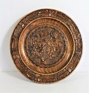 Vintage Wooden Hand Carved Laquer Wood Decor Plate Floral Design 12 inch