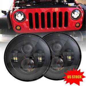 "Dot Approved 7"" Round Osram LED Headlights Hi/Lo Beam For Jeep Wrangler JK TJ CJ"