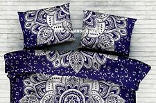 Indian Cotton Silver Ombre Mandala Blue Pillow Cover Pillow Sham Bedding Throw