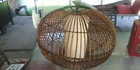 Mid Century Modern Vintage Rattan Wicker Puff Shade Swag/Ceiling Light