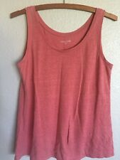 EILEEN FISHER Rose Pink Coral LINEN Scoop NECK TANK TOP Cami Blouse S Tunic Long