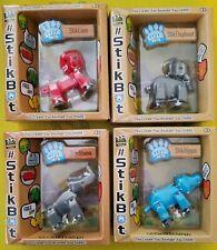 Lot of 4 Stikbot Safari Animals Lion Elephant  Rhino and  Hippo pick Colors