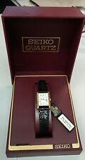 Authentic Seiko Gold Tone Rectangular Black Snakeskin Leather Strap Ladies Watch