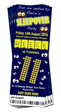 BIRTHDAY PARTY INVITATIONS Boys Sleepover Personalised Ticket Style
