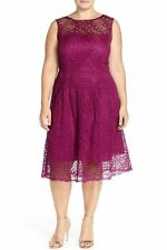 NWT $180 Adrianna Papell Sangria Lace Fit & Flare Dress (Plus Size) 22W