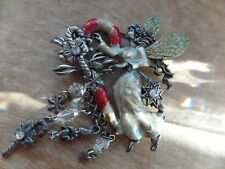 Vintage Kirks Folly Christmas Tooth Fairy Silver Tone With Sparkling Wings Pin