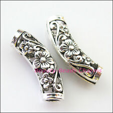 4Pcs Tibetan Silver Flower Wave Tube Spacer Beads Charms 9x25.5mm