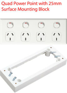 White Quad Power Point 4 Gang Socket Outlet GPO with SURFACE MOUNTING BLOCK