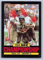 1985  NFC CHAMPIONSHIP GAME - Topps Football Card # 7 - 49ERS vs BEARS