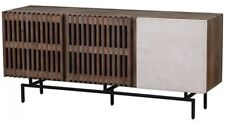 "63"" W Giordano Plasma Console Table Reclaimed Pine Slatted Doors Steel Base"