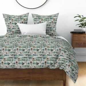 Wintry Woodland Forest Snow Trees Winter Deer Sateen Duvet Cover by Roostery