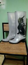 Grey PVC Boots Black Cat Logo.