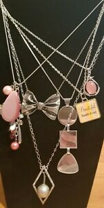 **Lot Collection 6 Silver Tone Necklaces Bow Pink Cat's Eye Geometric**