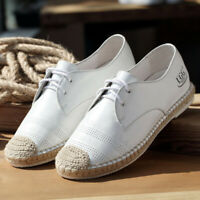 Womens Weave Espadrille Lace Up Loafer Moccasin Flats Brogue Causal Oxford Shoes