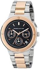 NWT Kenneth Jay Lane Women's KJLANE-2133 Chronograph Black Dial Two Tone Watch