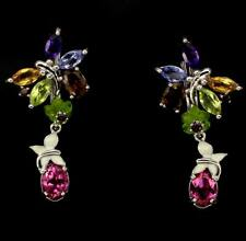 8.8ct Amethyst, Topaz, Tanzanite, Tourmaline Earrings in 925 Sterling Silver