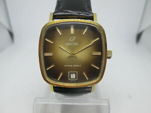 VINTAGE ENICAR STAR JEWEL DATE GOLDPLATED AUTOMATIC MENS WATCH