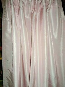 SIMPLY SHABBY CHIC PINK PINCH PLEATED HIDDEN TAB FAUX SILK (1) CURTAIN 40X82