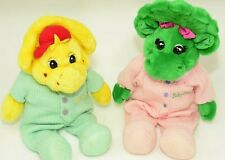 Vtg Bedtime Baby Bop & BJ Plush Dolls Pajamas Barney Stuffed Animal Dinosaurs