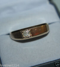 QVC 10k plumb Yellow Gold brushed Diamonique DQCZ wedding 1 stone Band ring mens