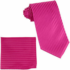 New Polyester Woven Men's Neck Tie necktie & hankie set Stripes Hot pink formal