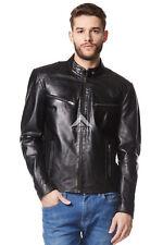 Men's Leather Jacket Black Biker Motorcycle Style 100% REAL LAMBSKIN SR-02