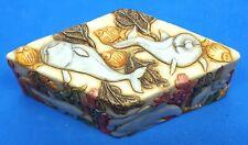 Jardinia Trinket Box Undersea Dolphins Diamond shaped, Hawaiian Inscription