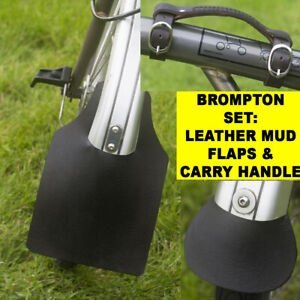 BROMPTON SET: Leather Mudguard Flaps & Mini Carry Handle in BLACK