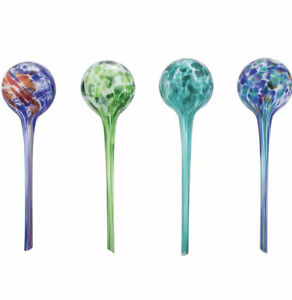Wyndham House 4-Piece Hand-Blown Glass Plant Watering Globe Set, Colorful NEW