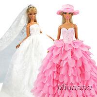 2 Vestit Abiti da sposa lunghi senza spallini con corona, velo - bianco e rosa